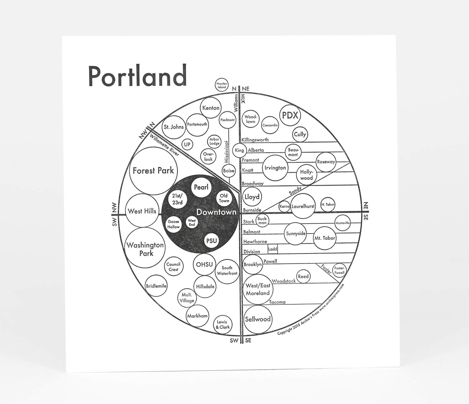 Archie\'s Press - Circle Map of Portland at buyolympia.com