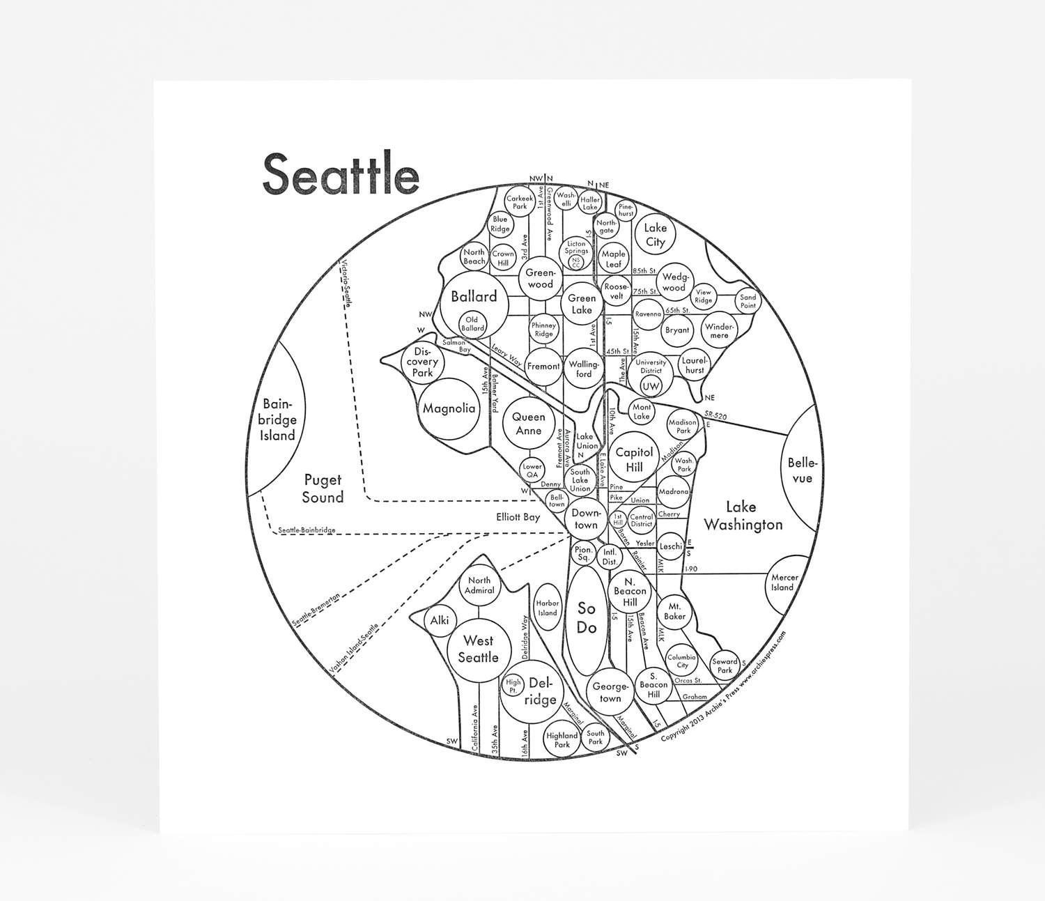 Archie\'s Press - Circle Map of Seattle at buyolympia.com