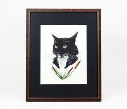 Tuxedo cat / Cattails