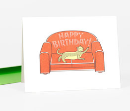 """Happy Birthday"" Cat on Sofa"
