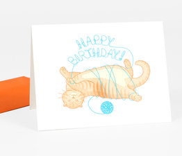 """Happy Birthday"" Cat with Yarn"