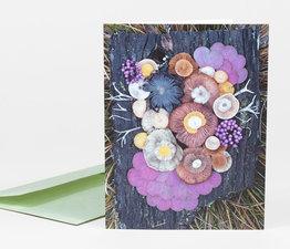 Mushroom Medley on Wood Slab