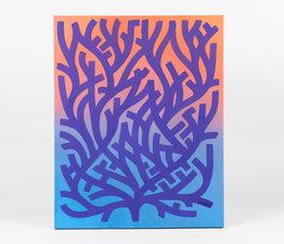 Purple on Coral/Sea Gradient