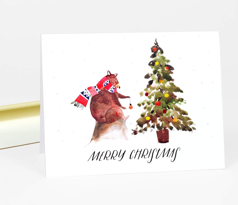 Christmas Notecard.Merry Christmas Bear