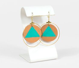 Painted Turquoise Triangle Hoops