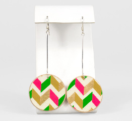 Pink, Green, and Gold Chevron Yuzen Paper