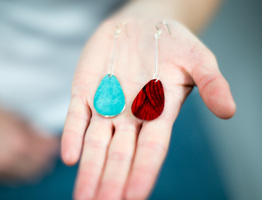 Red Rain Drop Earrings