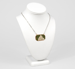 Snow Capped Mountain and Gold Trees Necklace