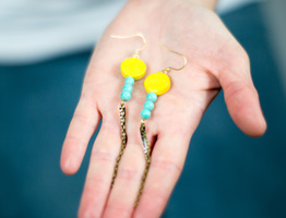 Yellow and Aqua Claw Earrings