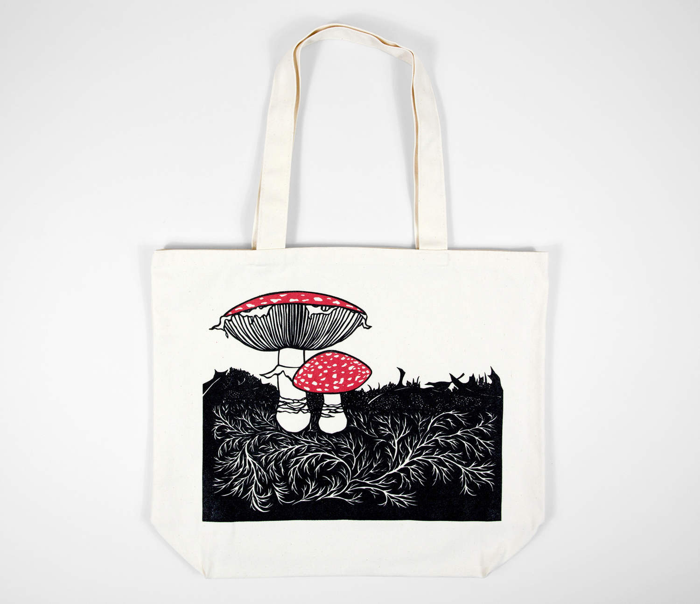 4555c590d3f8 Product Image. Nikki McClure. Mushrooms. Organic Cotton Tote