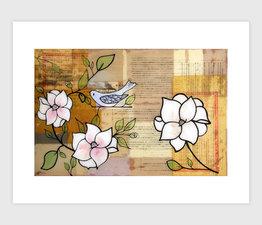 Blue Bird and Magnolias